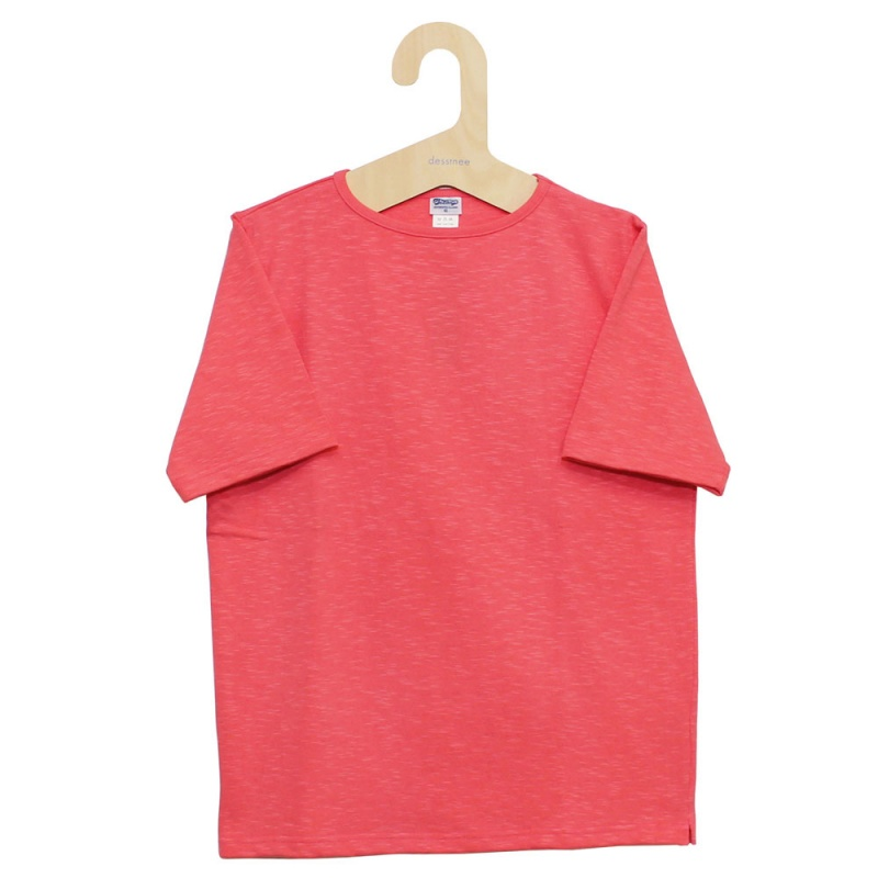 Tieasy AUTHENTIC CLASSIC (ティージー) - HDCS Boatneck S/S Basque Shirt (半袖バスクシャツ) (Salmon Pink)