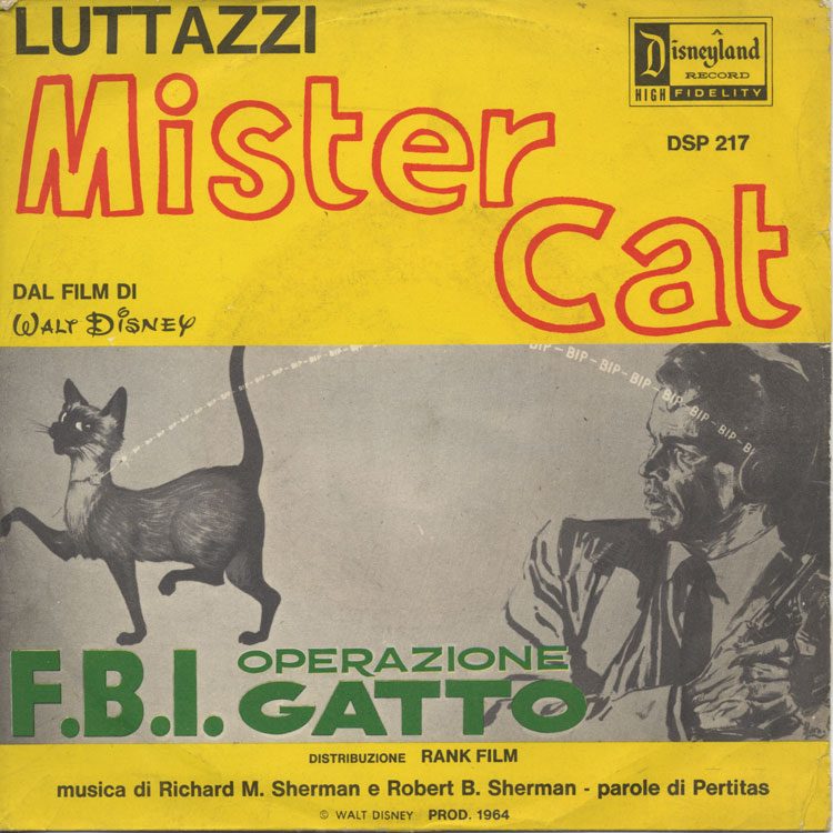"Lelio Luttazzi / Augusto Righetti And His Charly's Team - Mister Cat (That Darn Cat) / Guarda La Gatta [F.B.I. Operazione Gatto] (シャム猫FBI/ニャンタッチャブル) (Used 7"")"