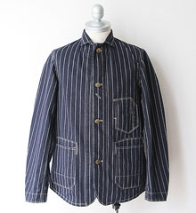 "FREEWHEELERS フリーホイーラーズ "" GANDY DANCER "" WORK COAT (NAVY CHAIN STRIPE)"
